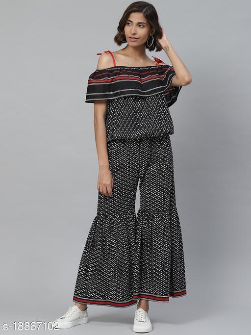 AKIKO Women's Geomatrical Printed Strappy Off Shoulder Dress (Black)
