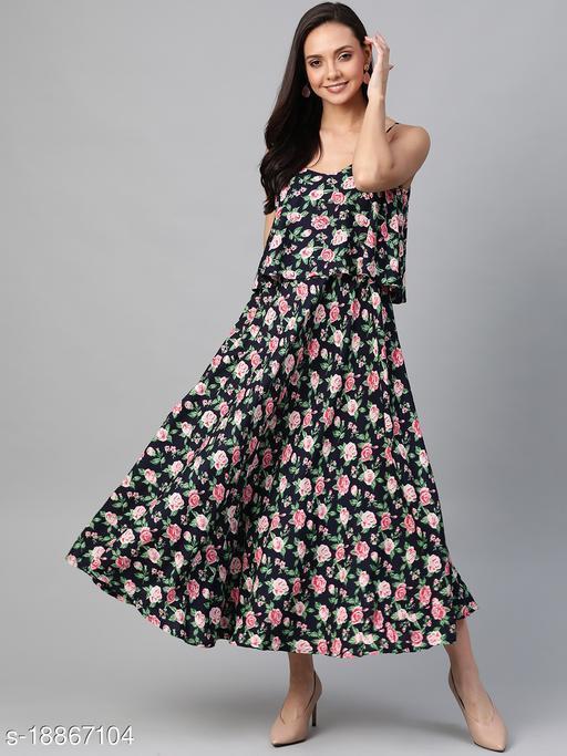 AKIKO Women's Rayon Straped Floral Printed Maxi Dress