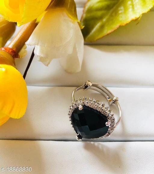 Elite Designer AD Black Adjustable Ring