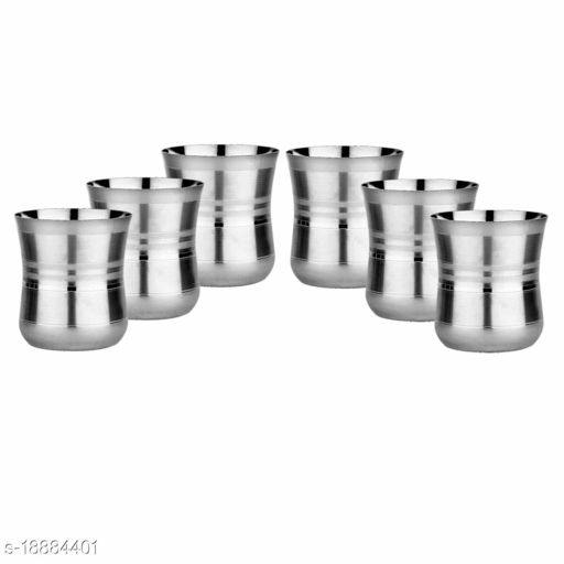 ARNAH TREASURE Set of 6 Stainless Steel Water Juice Glasses Set Dinning Table Accessories
