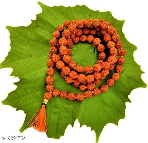 Original 5 Mukhi Rudraksha Certified Natural 7-8 mm Beads Japa Mala 108 Beads Wood Chain pack of 1
