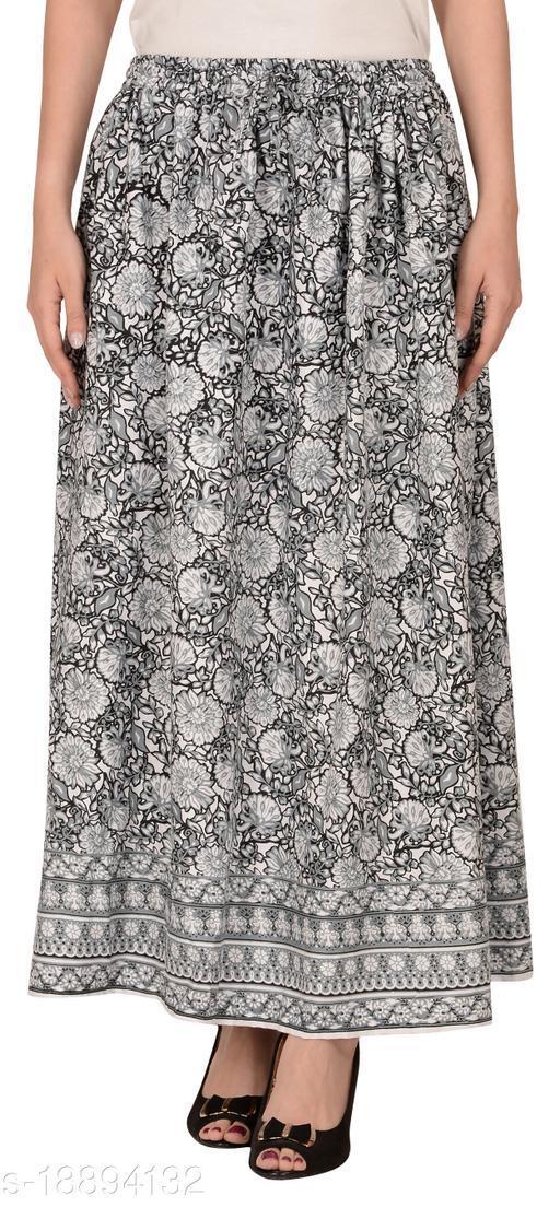 Women's Rayon Long Printed Skirt