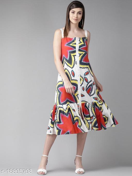 AKS Women White Printed A-Line Dress
