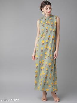 AKS Women Green & Mustard Yellow Printed Maxi Dress