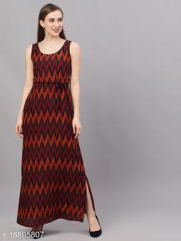 AKS Women Black Printed Maxi Dress