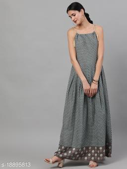 AKS Women Grey & Blue Printed Maxi Dress