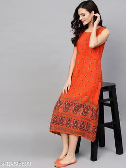 AKS Women Orange & Blue Printed A-Line Dress