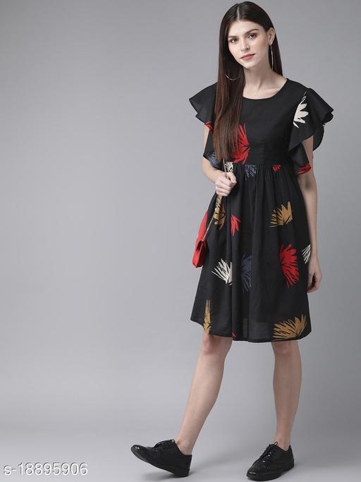 AKS Women Black & Red Printed A-Line Dress