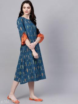 AKS Women Navy Blue & Grey Printed A-Line Dress