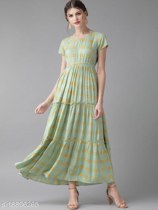AKS Women Green & Mustard Yellow Printed Tiered Maxi Dress