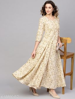 AKS Women Off-White & Beige Floral Print Maxi Dress