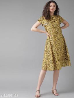 AKS Women Yellow Printed A-Line Dress