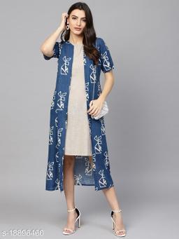 AKS Women Grey Solid Sheath Dress with Longline Ethnic Jacket