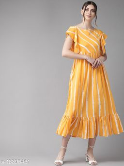 AKS Women Mustard Yellow & White Striped A-Line Dress