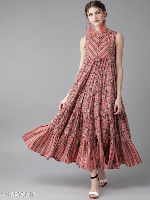 AKS Women Pink & Charcoal Grey Printed Maxi Dress