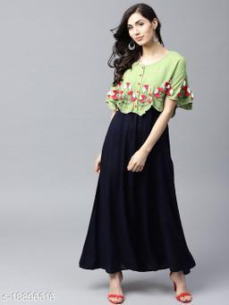 AKS Women Navy Blue & Green Layered Maxi Dress