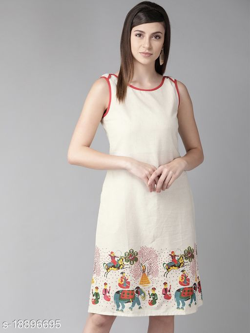 AKS Women Off-White & Red Printed A-Line Dress