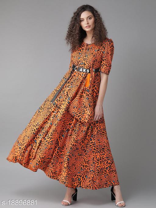 AKS Women Orange & Black Animal Printed Maxi Dress