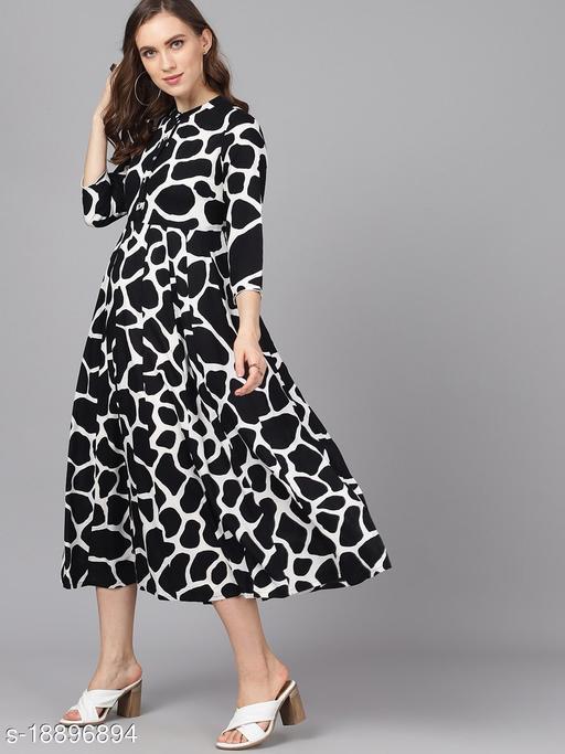AKS Women Black Printed A-Line Dress