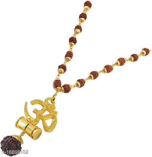 Om Rudraksh Damaru Locket With Panchmukhi Rudraksh Mala Pack of 1