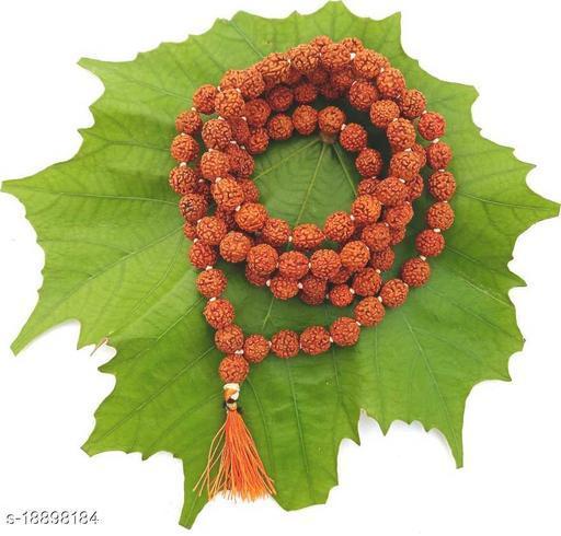 Original 5 Mukhi Rudraksha Natural 9-10 mm Beads Japa Mala 108 Beads Wood Chain Wood Chain