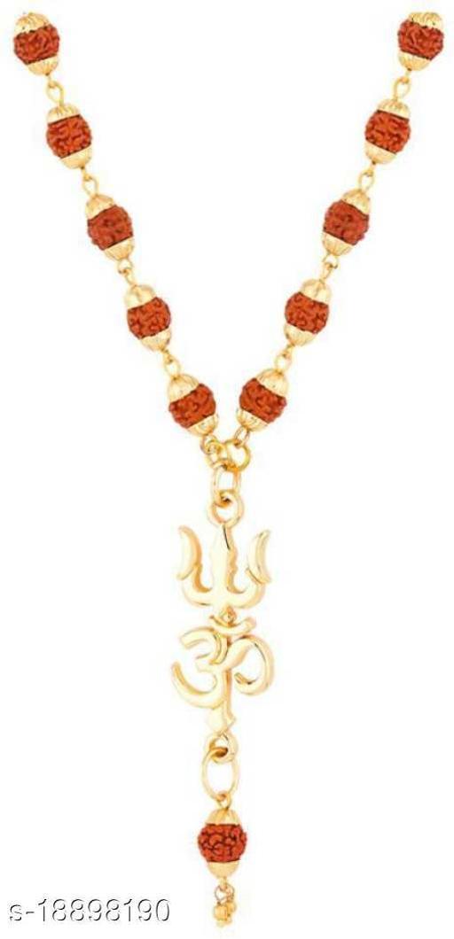 Lord Shiv trishul Om Pendant Locket With Original Panchmukhi Rudraksh Mala rare collection pack of 1