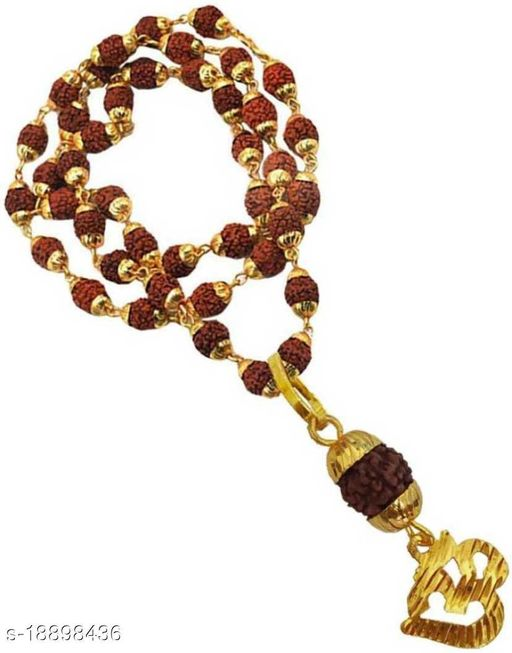 OM Locket Pendant With Damru And Rudraksh Mala Gold Plated Wood Chain for mens,womens and unisex pack of 1