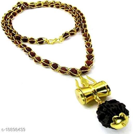 Lord shivji trishul damru Rudraksh Locket Jali Mala wood chain for unisex pack of 1