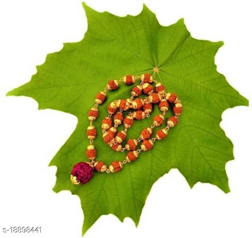 Rudraksh Mala With big Rudraksh Locket (8mm 36 beads + 1 Big rudraksh) Five Face Wood Chain Gold Plated Pack of 1