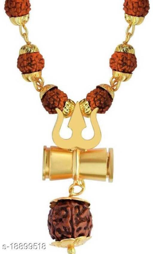 Loard Shiv VinaashKari Shakti Kavach 5 Mukhi Chamtkaari Rudraksha Mala With Shiv Trishul Damru Rudraksh Men Women Gold-plated Beads Brass, Wood