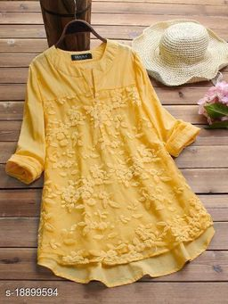 SHREE LAXMI FASHION Present  Cotton flex net Embroidery Stitched Top For Women's (SLFTP-TLS-YELLOW)