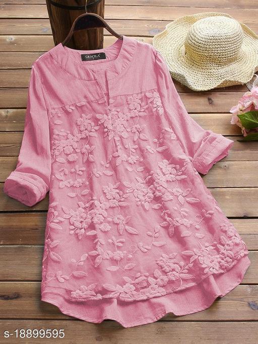 SHREE LAXMI FASHION Present Pink Cotton flex net Embroidery Stitched Top For Women's (SLFTP-TLS-PINK)