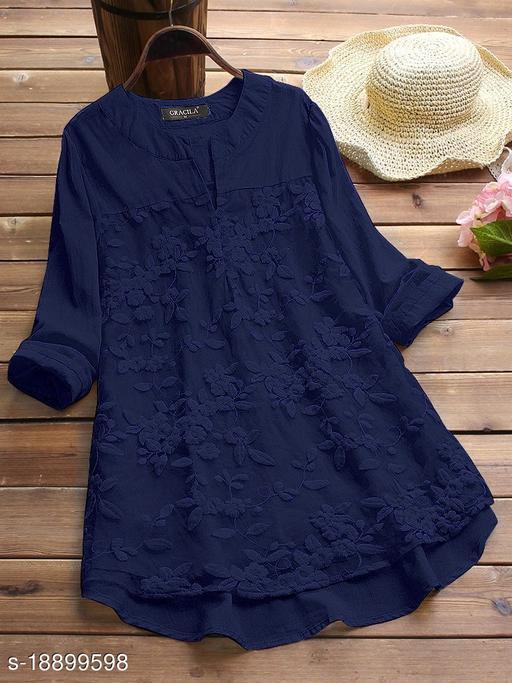 SHREE LAXMI FASHION Present Blue Cotton flex net Embroidery Stitched Top For Women's (SLFTP-TLS-BLUE)