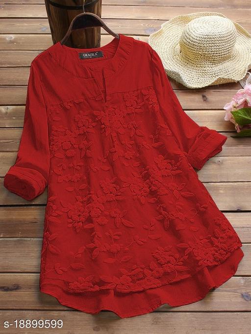 SHREE LAXMI FASHION Present White Cotton flex net Embroidery Stitched Top For Women's (SLFTP-TLS-RED)
