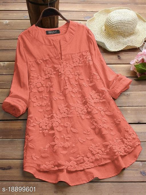 SHREE LAXMI FASHION Present Peach Cotton flex net Embroidery Stitched Top For Women's (SLFTP-TLS-PEACH)
