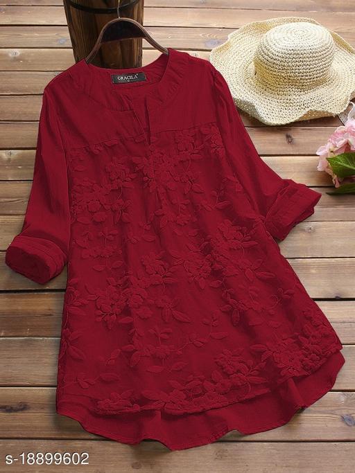 SHREE LAXMI FASHION Present Maroon Cotton flex net Embroidery Stitched Top For Women's (SLFTP-TLS-MAROON)