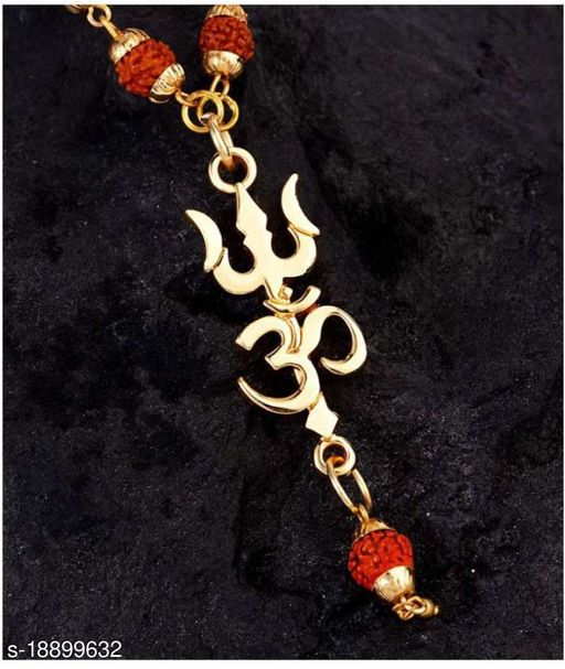 Religious Jewelry Lord Shiv Trishul Om With Puchmukhi Rudraksha Mala Gold-plated Plated Wood Chain Gold-plated Brass, Wood