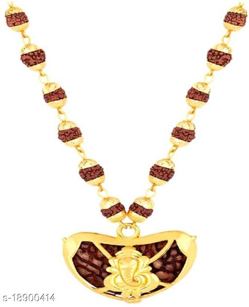 Rudraksh Mala With Ganesha Locket Religious Jewellery Rare Collection wood chain for mens,womens and unisex pack of 1