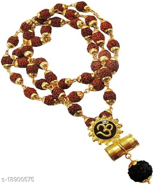Om suraj Locket Pendant With Original Pacnhmukhi Rudraksh Mala 8mm 36 beads wood chain rare collection for mens,womens and unisex pack of 1