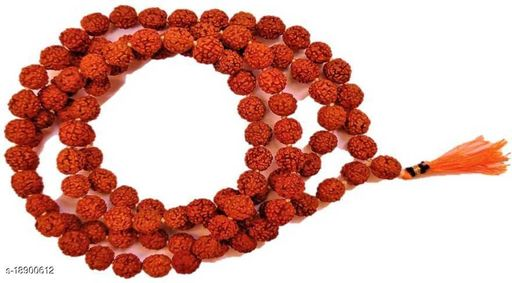 Natural & Energized Rudraksha Rosary/ Mala (108+1 Beads, Bead Size: 9-10 mm) Wood Necklace pack of 1