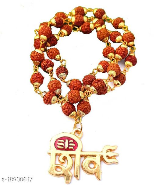 Shiv Locket Pendant Rudraksh Mala wood chain gold plated pack of 1