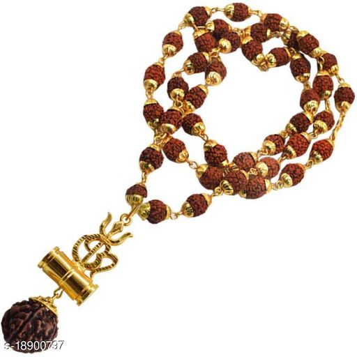 Om Damaru Pendant Rudraksh With Original Panchmukhi Rudraksh Mala Shiv shakti Five Face Rudraksh wood chain for unisex pack of 1
