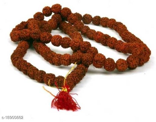 Natural & Energized Rudraksha Rosary/ Mala (108+1 Beads, Bead Size: 6-7mm) Wood Necklace pack of 1