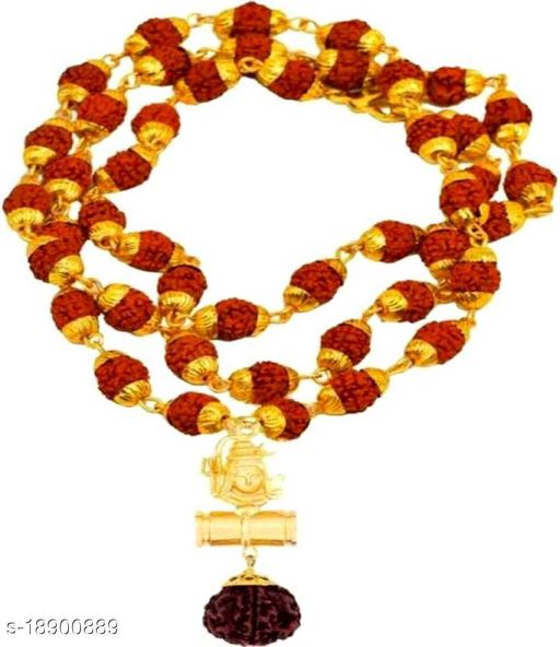 Lord Shivji Damru Locket With Original Panchmukhi five face  Rudraksh Mala (8mm 36 beads) Gold Plated ,Wood chain for mens,womens,unisex pack of 1