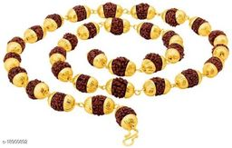 Rudraksha mala Original Panchmukhi Rudraksh Mala gold plated wood chain for mens,womens,unisex 15g Gold-plated Brass pack of 1