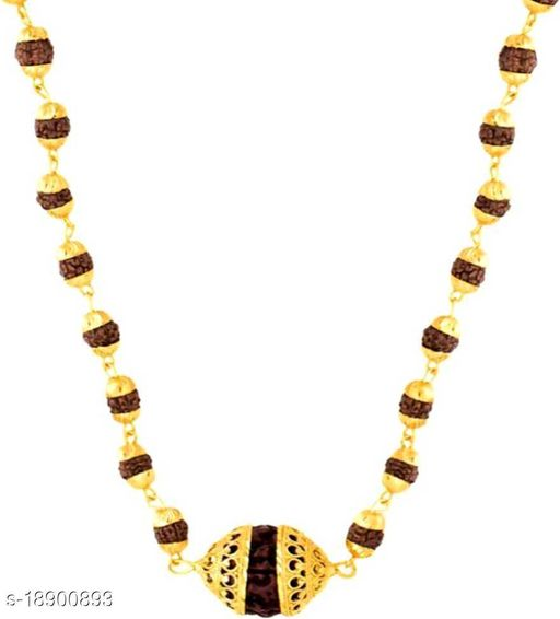 Panchmukhi Rudraksh Mala With Big Ring Cap Rudraksh Pendant locket wood chain gold plated pack of 1