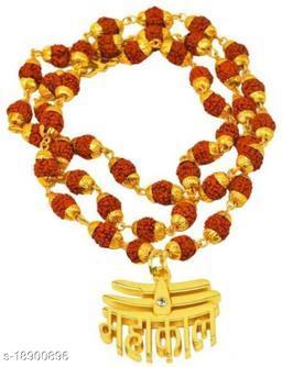 Mahakal tilak Pendant With Original Panchmukhi Rudraksh Mala (36 beads 8mm) For Mens,womens And unisex Pack of 1