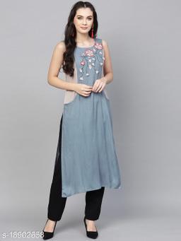 AKS Women Blue & Grey Applique Detail Straight Kurta