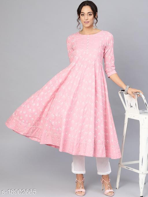 AKS Women Pink & White Khari Print Anarkali Kurta