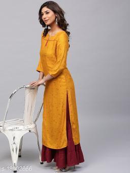 Women Viscose Rayon A-line Printed Yellow Kurti